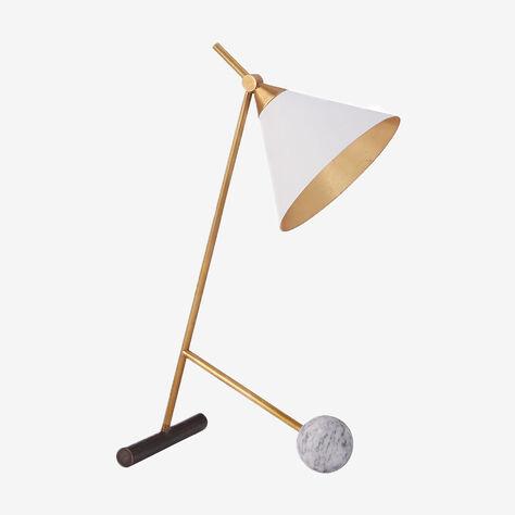 CLEO TABLE LAMP - BRONZE w/ BRASS