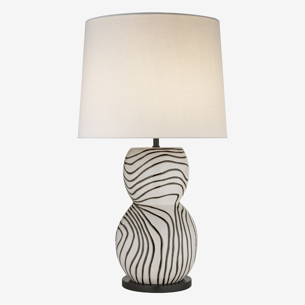 Balla large table lamp whiteblack w linen shade high end balla large table lamp whiteblack w linen shade geotapseo Images