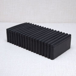 LAUREL RIBBED BOX RECTANGULAR - BLACK