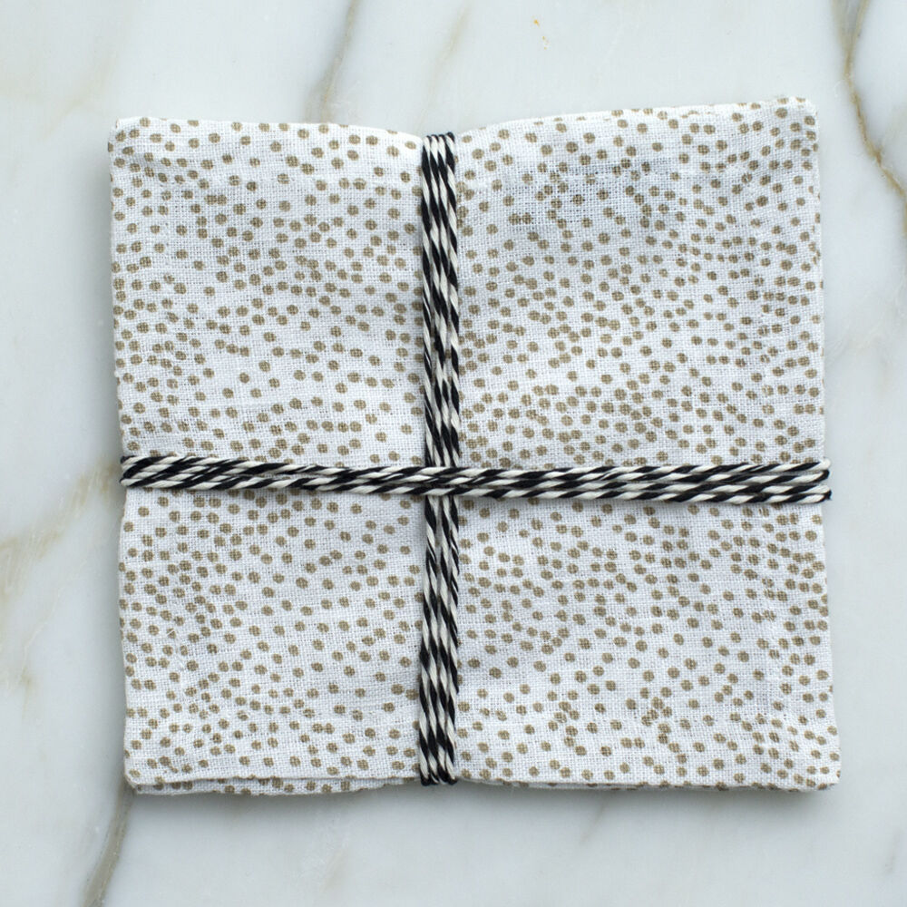 DOTS NAPKIN 6X6 SET OF 4-BEIGE