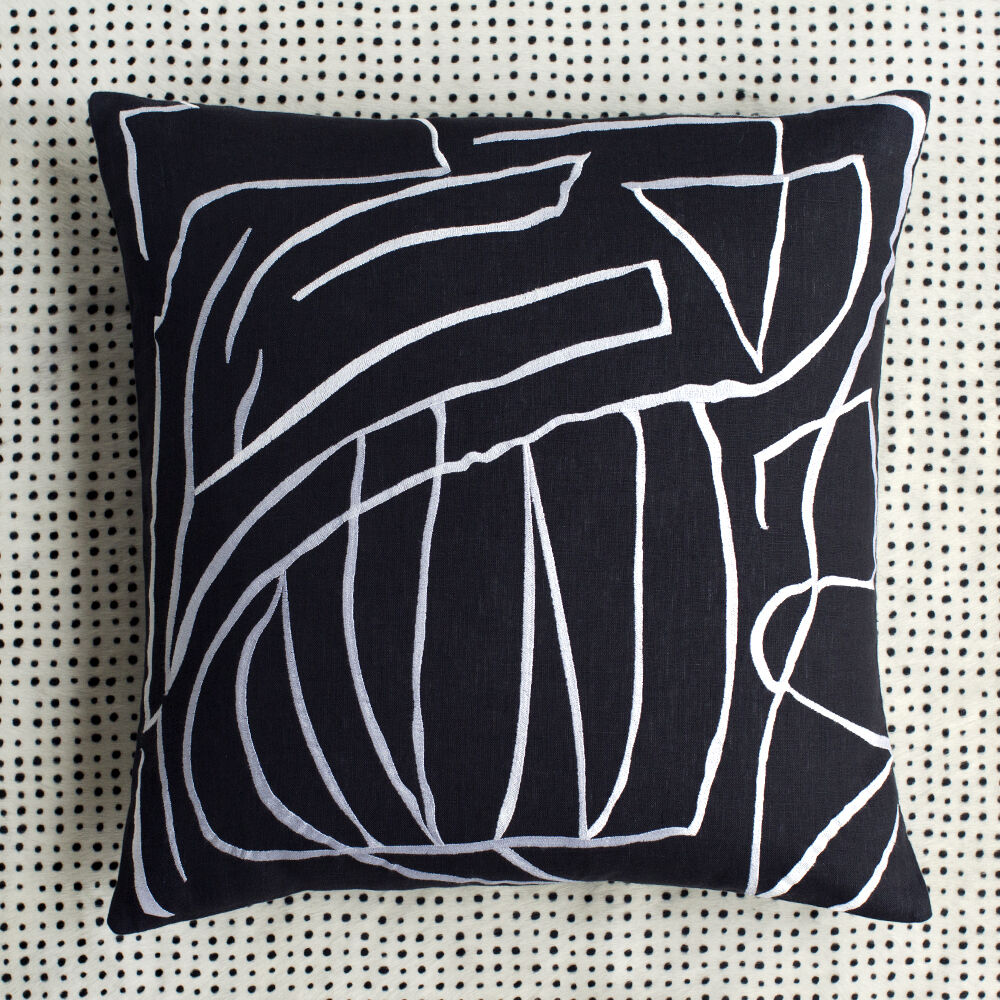 graffito pillow embroidered black