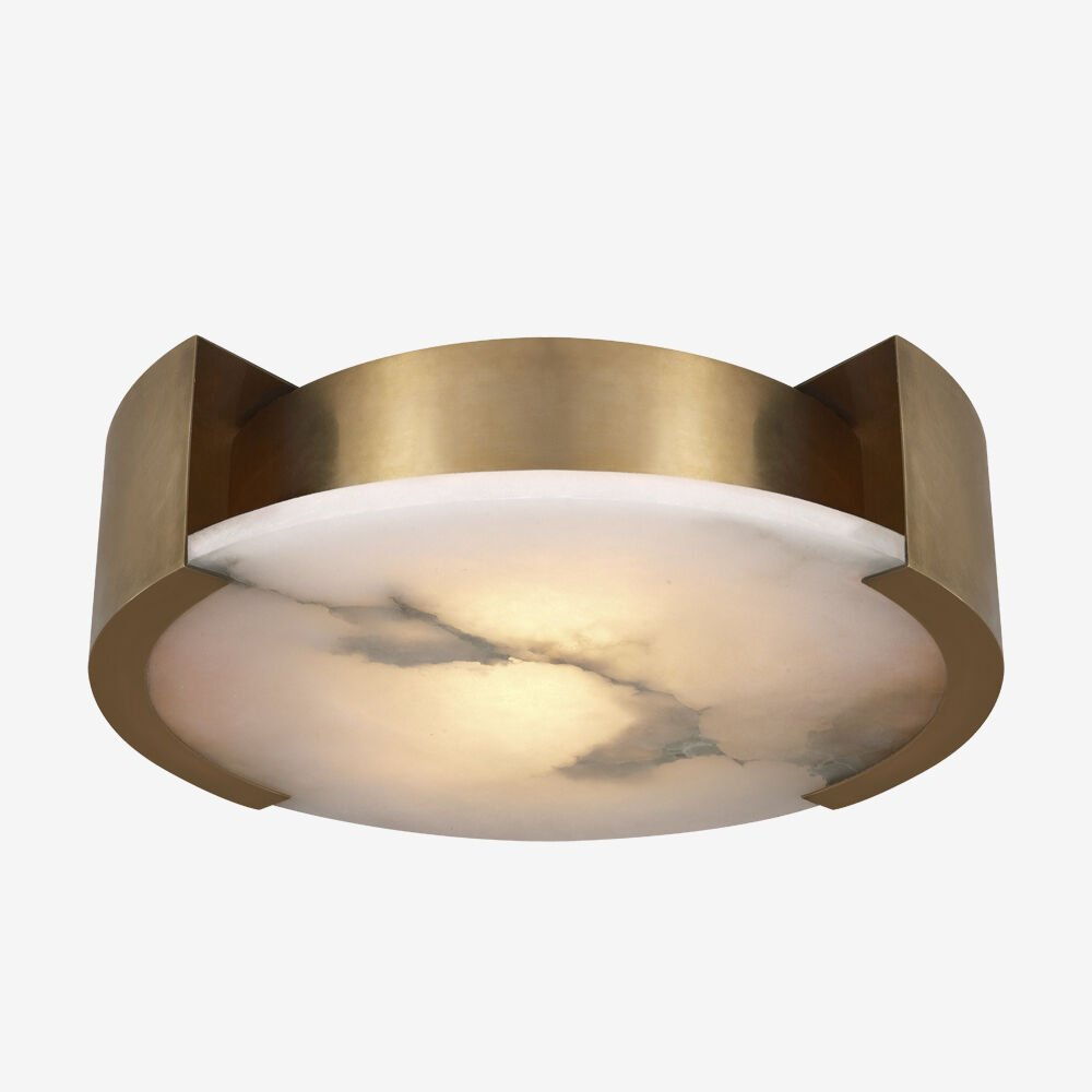 MELANGE LARGE FLUSH MOUNT LAMP - Antique-Burnished Brass with Alabaster