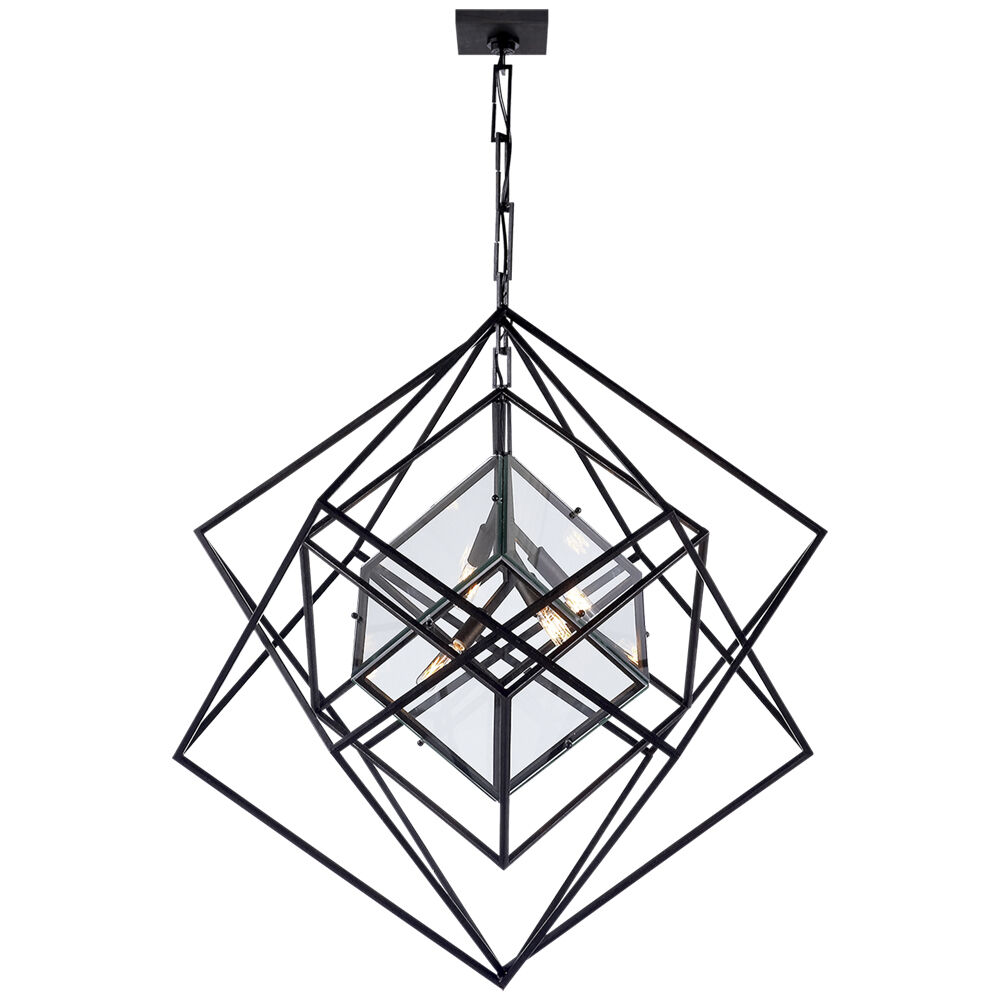 CUBIST MEDIUM CHANDELIER - AGED IRON