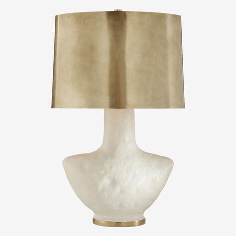 ARMATO TABLE LAMP - POROUS WHITE w/ BRASS