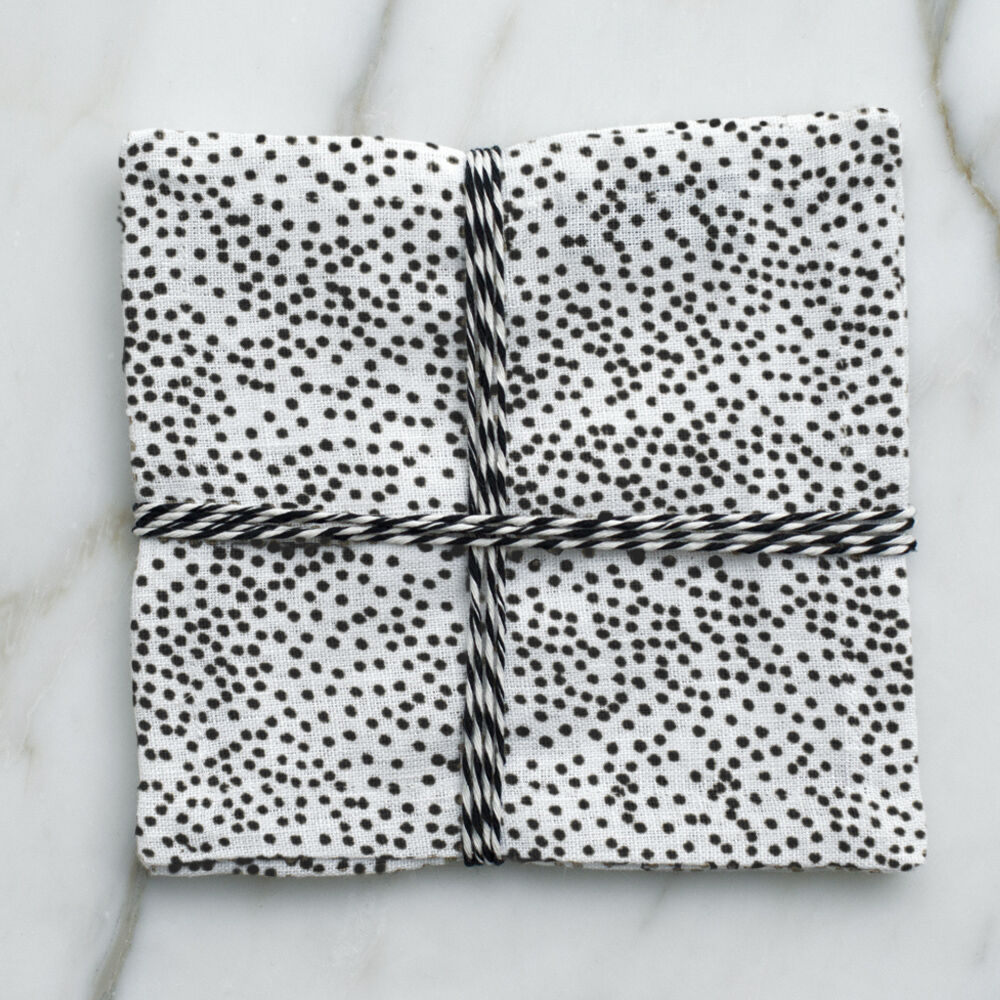DOTS COCKTAIL NAPKINS - BLACK