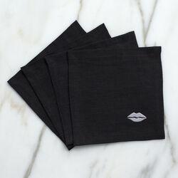 KISS COCKTAIL NAPKINS - BLACK