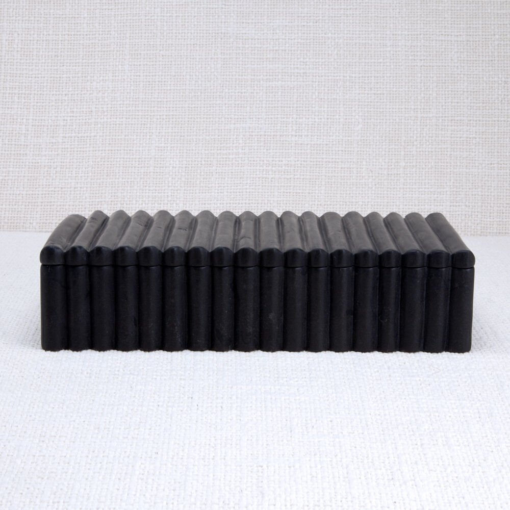 LAUREL RIBBED BOX RECTANGULAR - BLACK