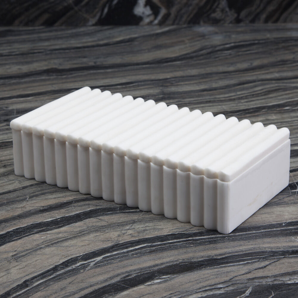 LAUREL RIBBED BOX RECTANGULAR - WHITE
