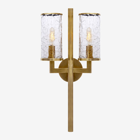 LIAISON DOUBLE ARM SCONCE - BRASS