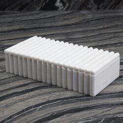 LAUREL RIBBED BOX RECTANGULAR - WHITE