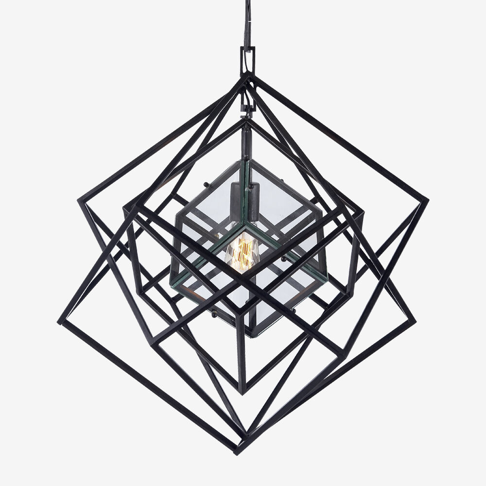 CUBIST SMALL CHANDELIER - AGED IRON