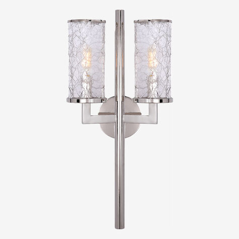 LIAISON DOUBLE ARM SCONCE - POLISHED NICKLE