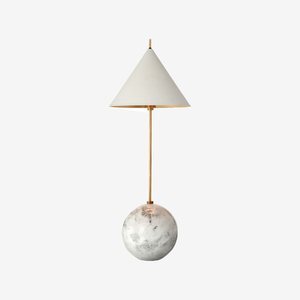Superb Cleo Orb Base Accent Lamp   BRASS W/ WHITE GLASS ...