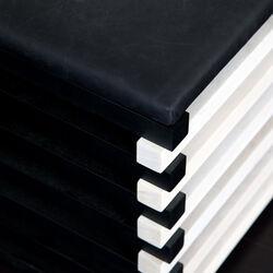 HAUSER STOOL - EBONIZED & BLONDE WALNUT w/ BUBBLY BLACK