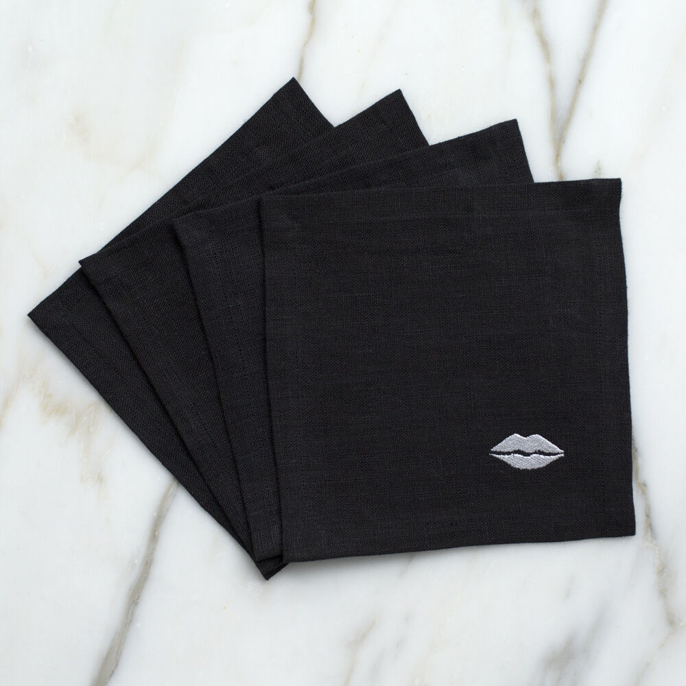 KISS COCKTAIL NAPKINS - BLACK