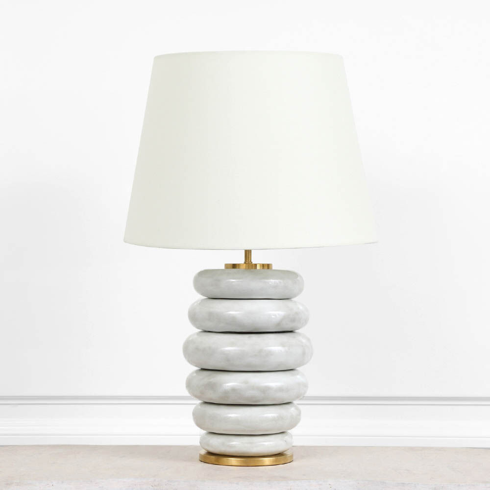 Phoebe Stacked Table Lamp In Antiqued White With Linen Shade Int