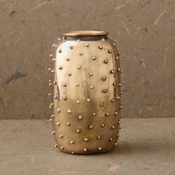 STUDDED VASE - BURNISHED BRASS