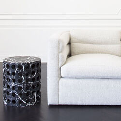 PERFORATED MARBLE STOOL - NEGRO