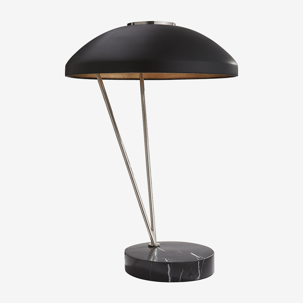 COQUETTE TABLE LAMP - POLISHED NICKLE w/ BLACK