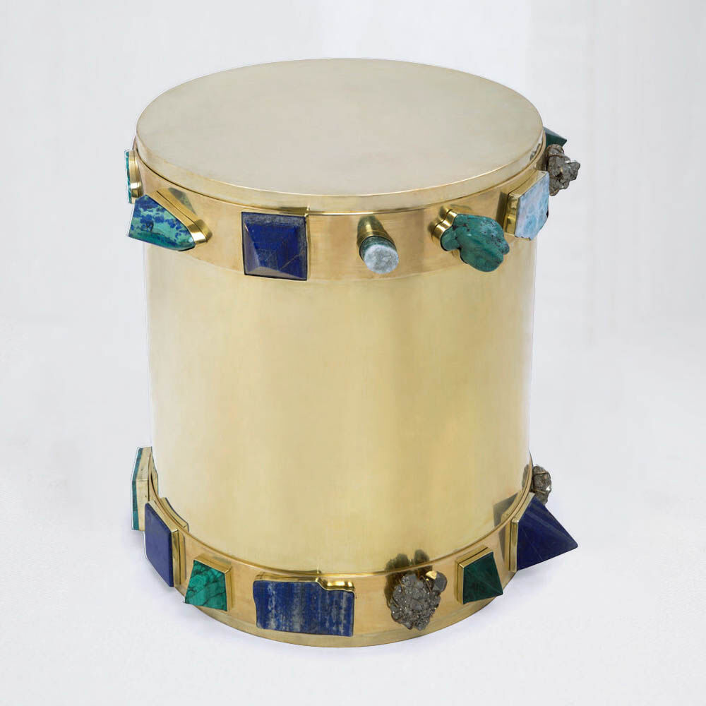 SUPERLUXE BEJEWELED BANDED STOOL