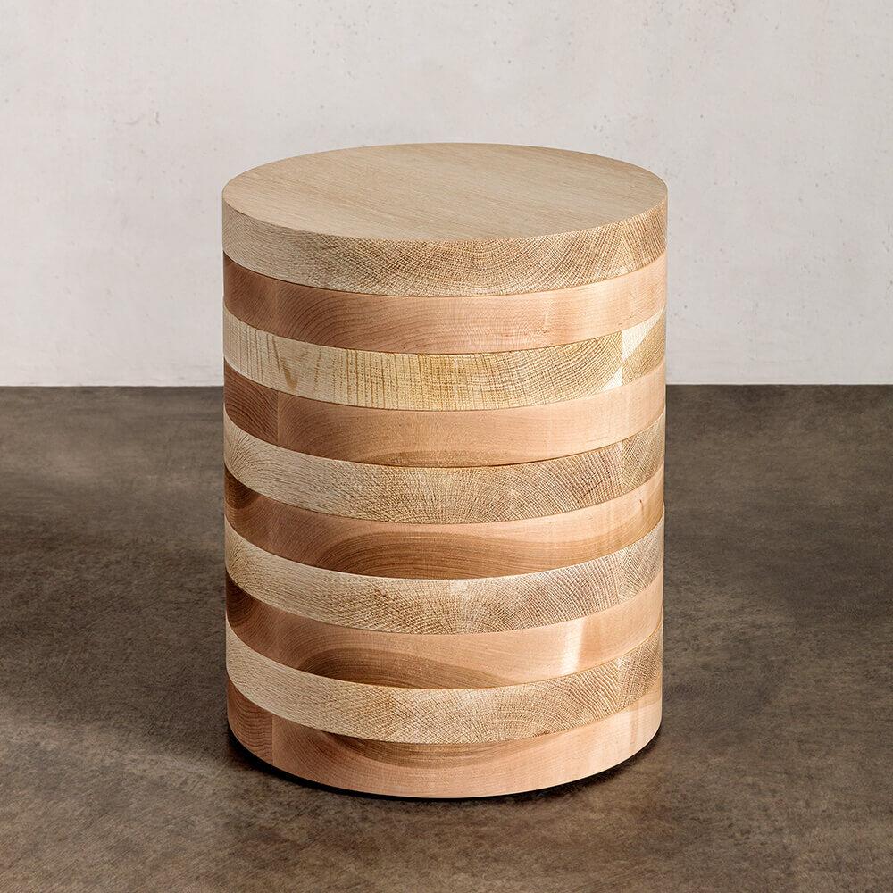OBLIQUE PEDESTAL SIDE TABLE